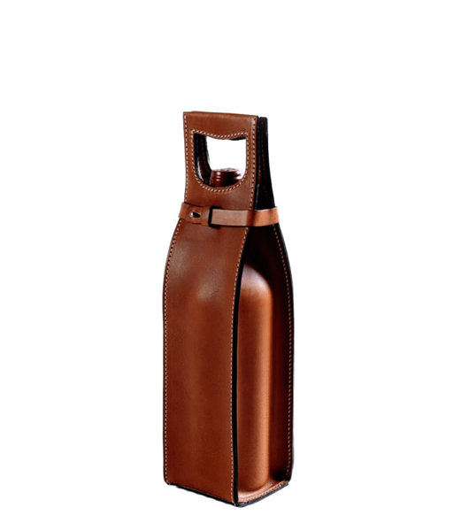 Custom Vachetta Italian Leather Wine Carrier