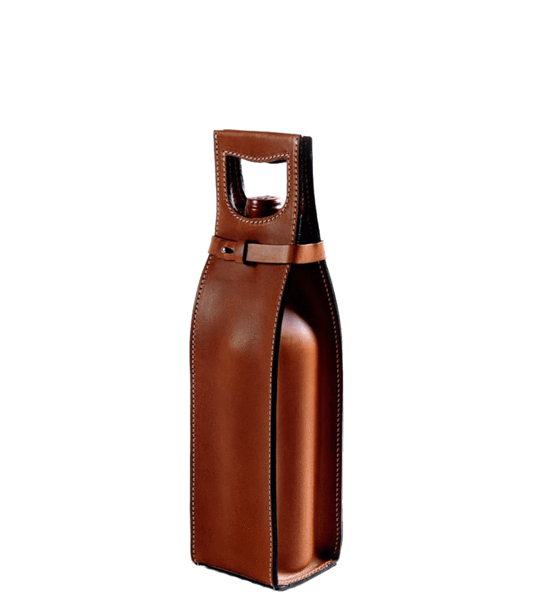 Leather Wine Carrier >> Custom Vachetta Italian Leather Wine Carrier Corporate Gifts