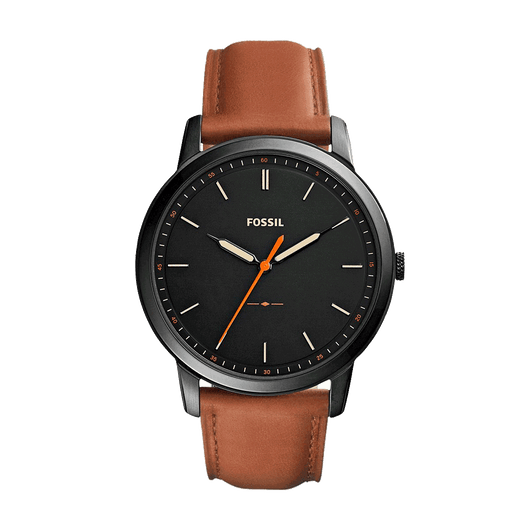 Light Brown Leather Custom Fossil Minimalist Slim Watch
