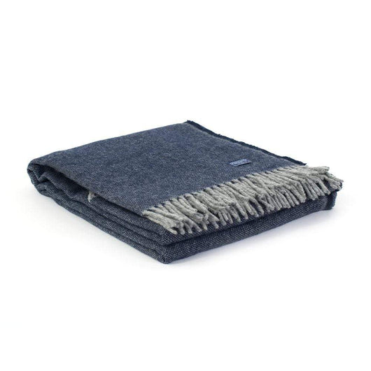 Navy Custom Faribault Ashby Twill Wool Throw
