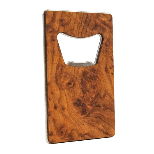 Redwood Burl Custom Premium Wood Credit Card Bottle Opener