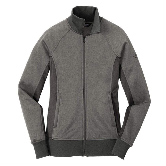 TNF Medium Grey Heather/Asphalt / SM Custom The North Face Ladies Tech Full-Zip Fleece Jacket
