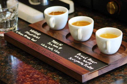 Walnut Custom Coffee Tasting Flight With Chalkboard Plate