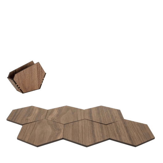 Walnut Custom Wood Puzzle Coaster Set