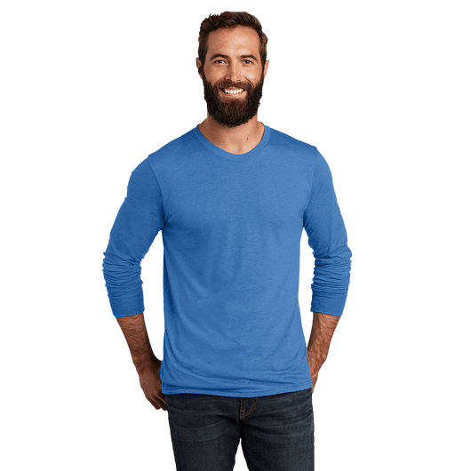 XS / Azure Blue / Unisex Custom Allmade Unisex Tri-Blend Long Sleeve Crewneck Shirt