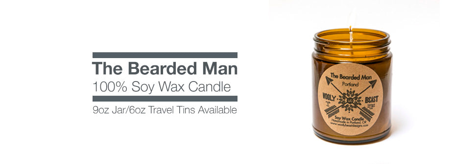 bearded man soy candle by wooly beast