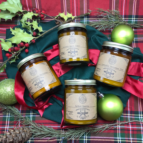 limited edition seasonal christmas holiday collection of vegan soy wax candles bourbon apple cider spiked eggnog old fashioned christmas cannabis christmas