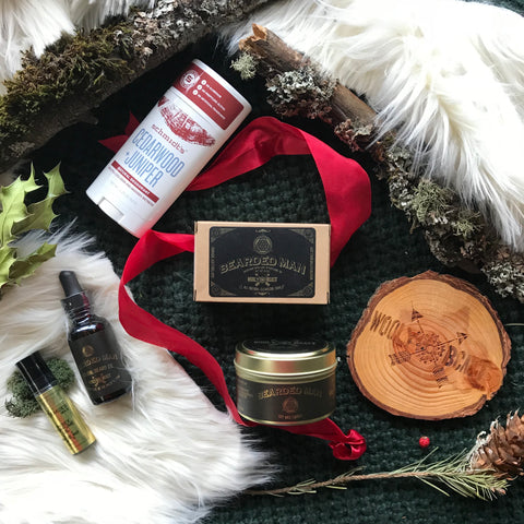 wooly beast naturals tool box gift set with beard oil candle perfume oil coaster in wood deodorant