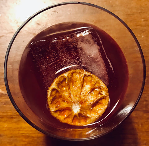 holiday hibiscus heart song cocktail with cbd bitters and mountain mel's tea