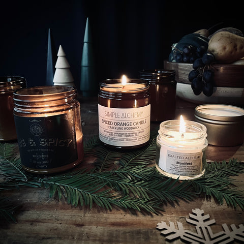 vegan soy plant based us grown soy candles essential oils by exalted alchemy wooly beast naturals and simple alchemy artisan handpoured small batch handmade hooga cozy vibes candlelight woodwick.