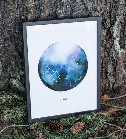 virgo constellation zodiac sign watercolor print by forest cloak