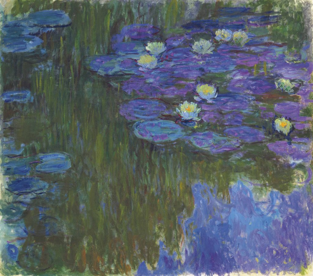 Monet Nymphéas en fleur (Water Lilies in Bloom), 1914-1917