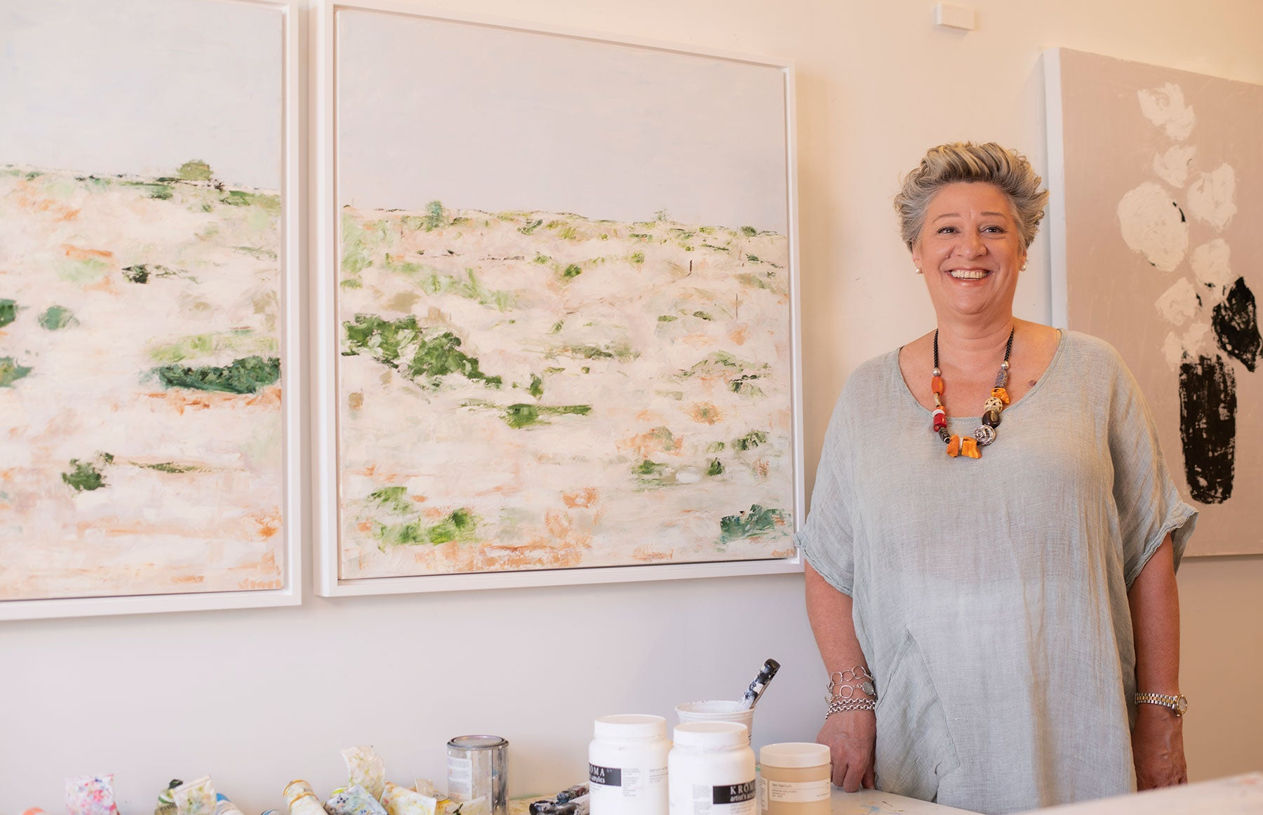 Artist Claire Sower in her Studio