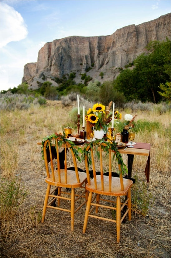 Sunflowers Wedding Table Outside