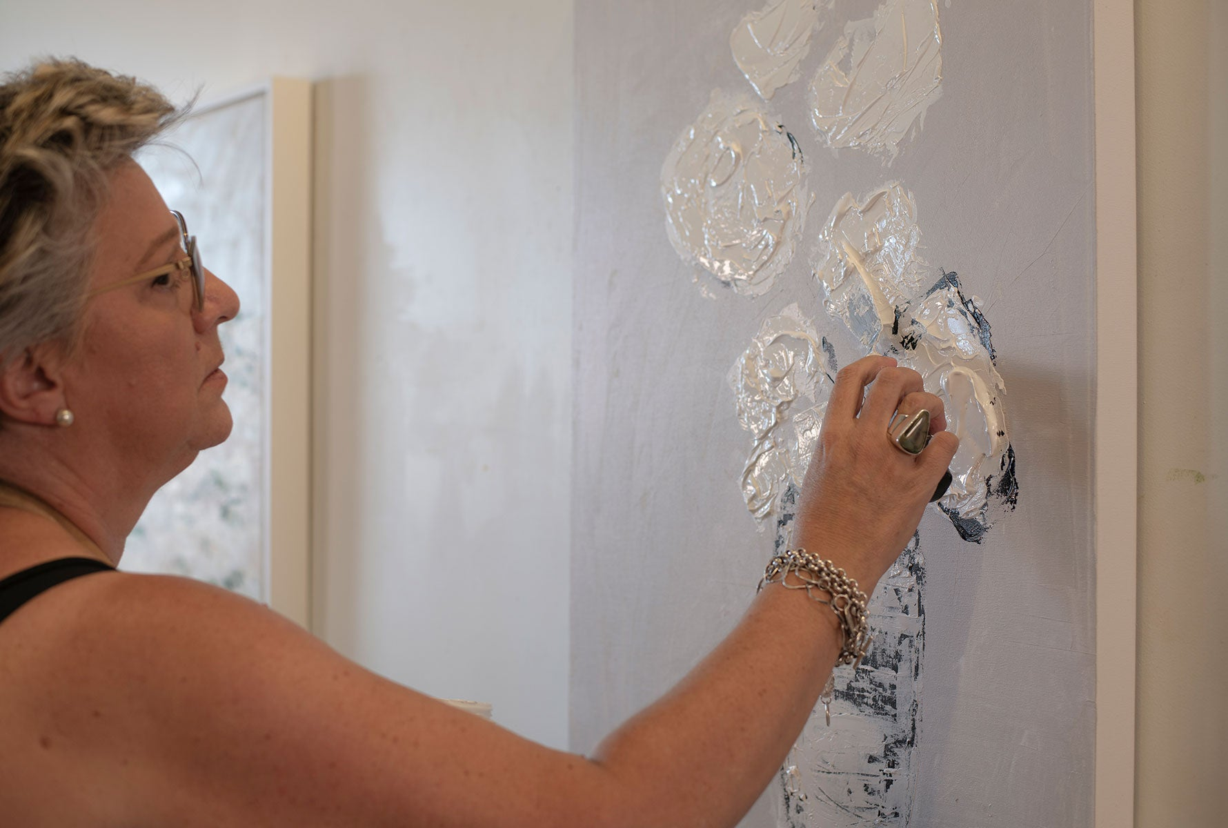 Artist Claire Sower Painting Abstract Florals