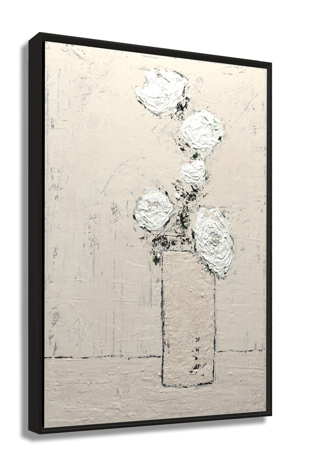 Floating Frame Side View. Abstract RosesTextured Art Print. Rose Provenciale by Claire Sower