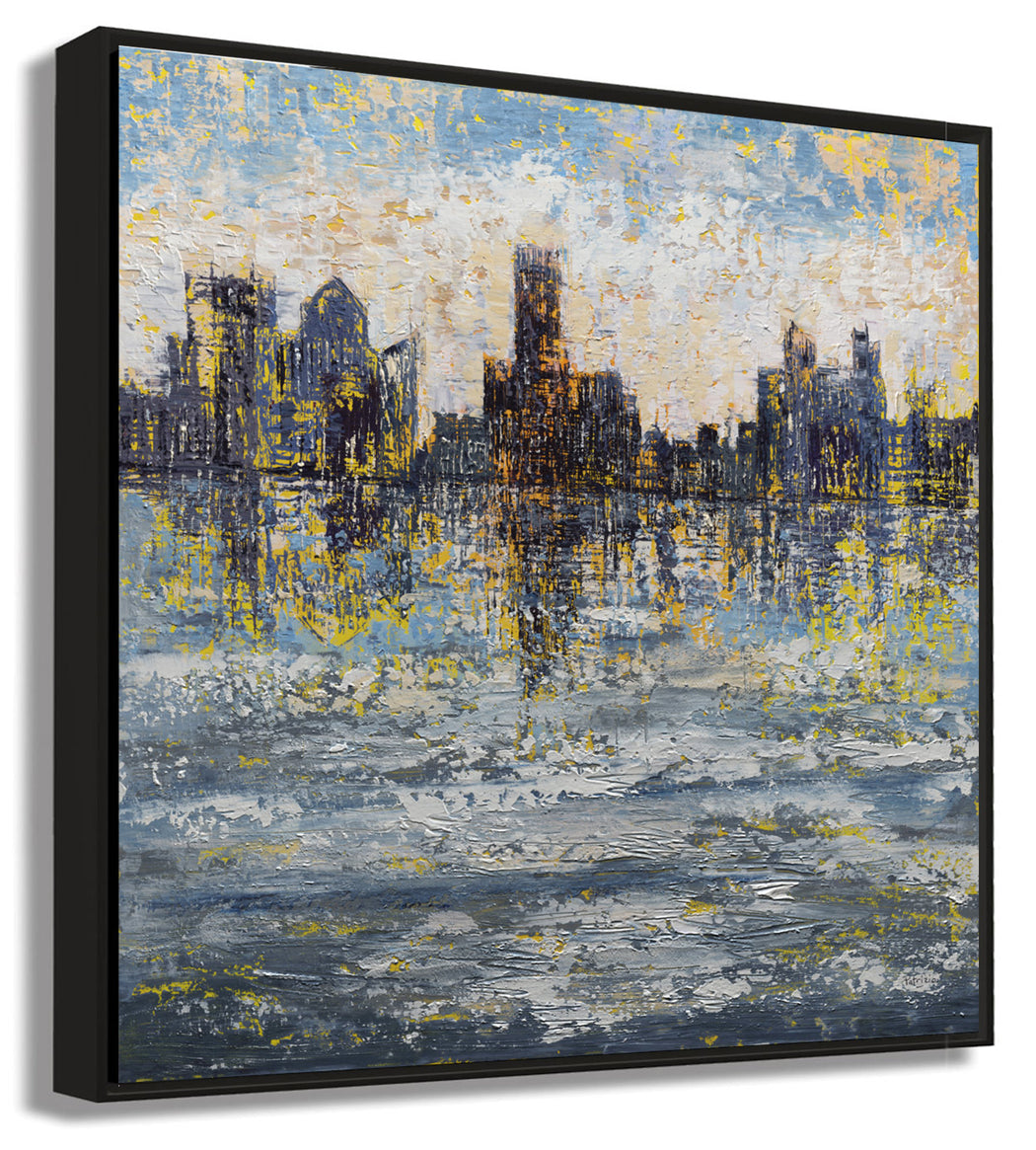 Side View of Framed Abstract City Skyline Art Print, On the Town by Pietro Adamo