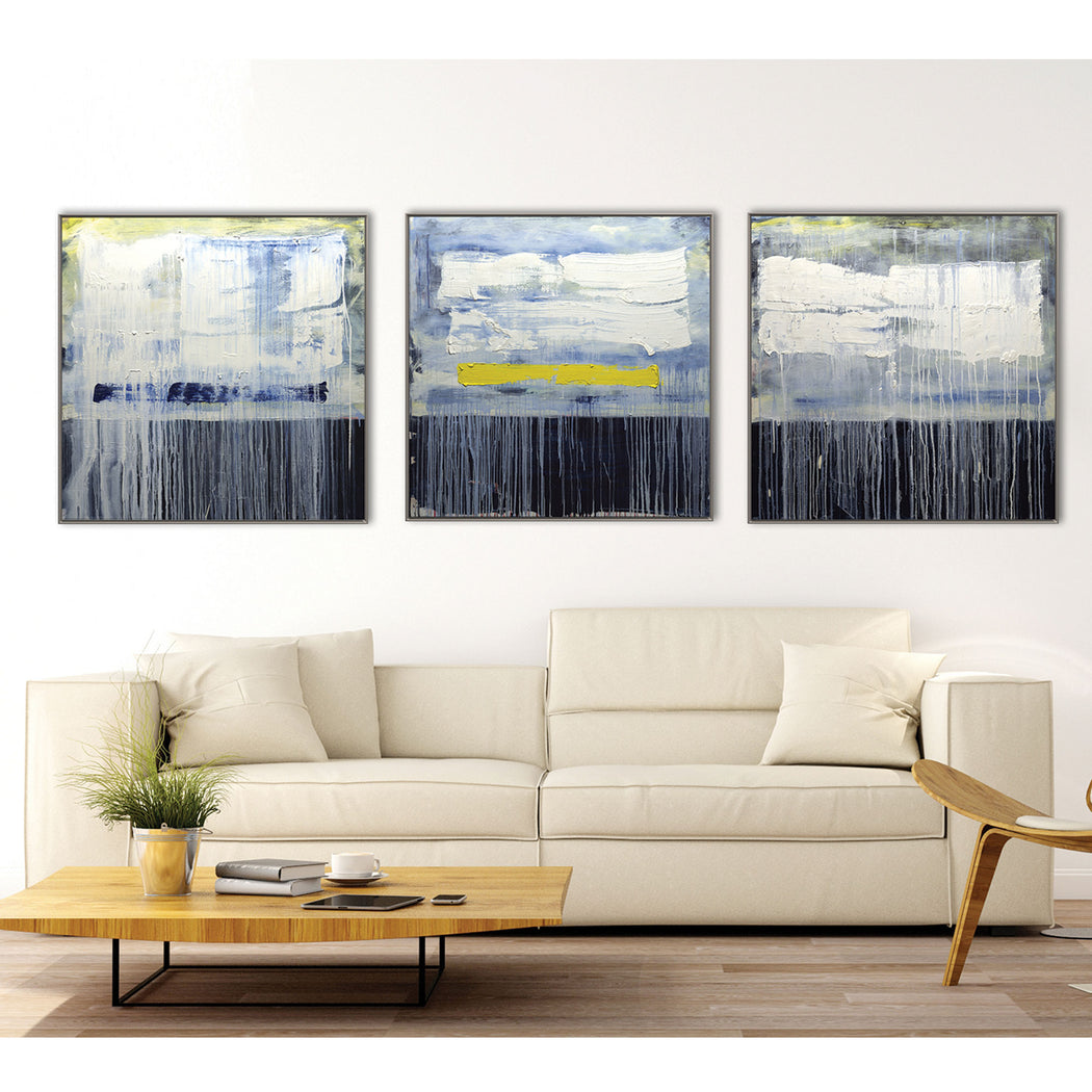 Framed Abstract Landscape Géomatique Textured Art Print Triptych