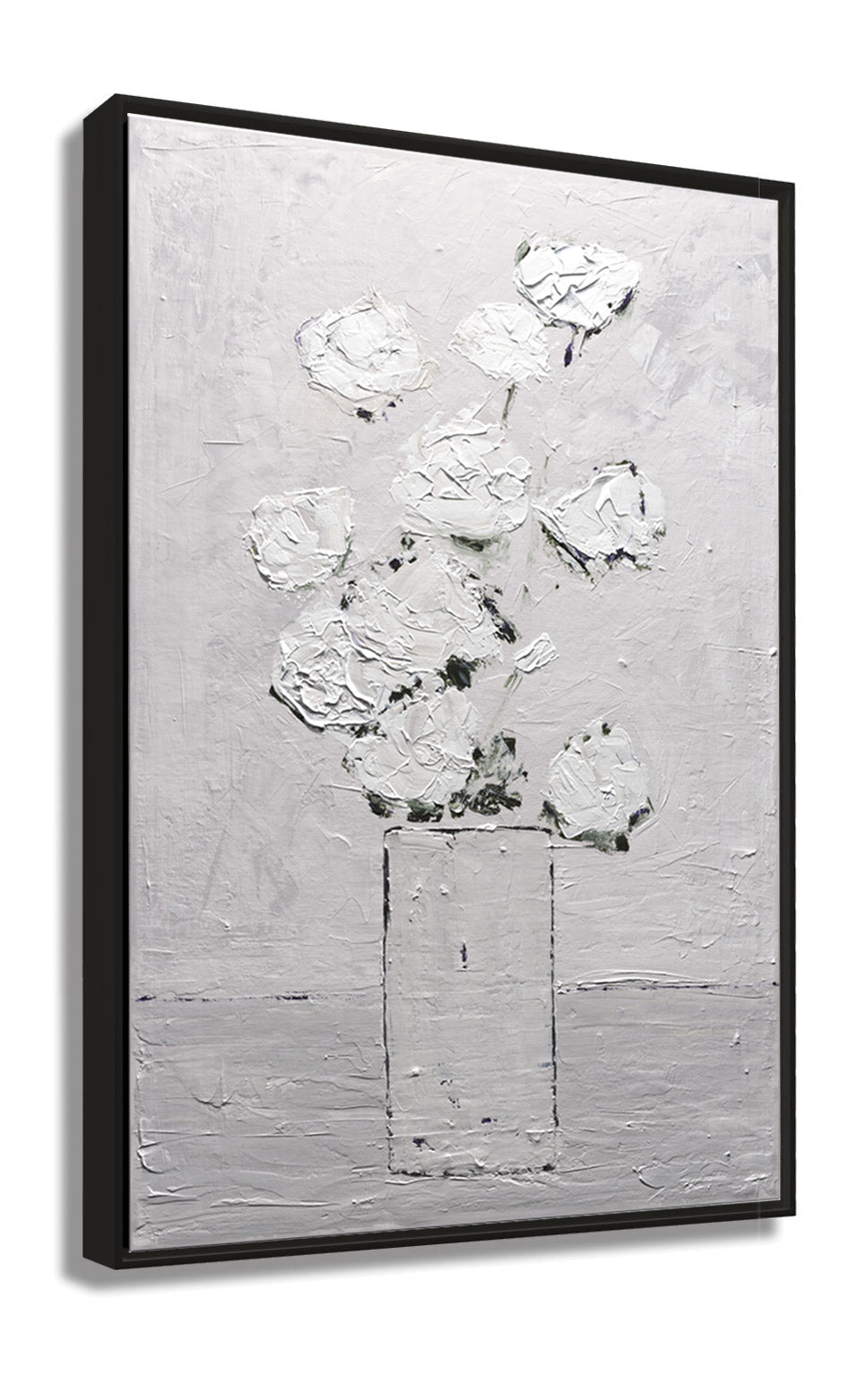 Angle View of Framed Abstract White Flower Textured Art Print White on Gray by Claire Sower