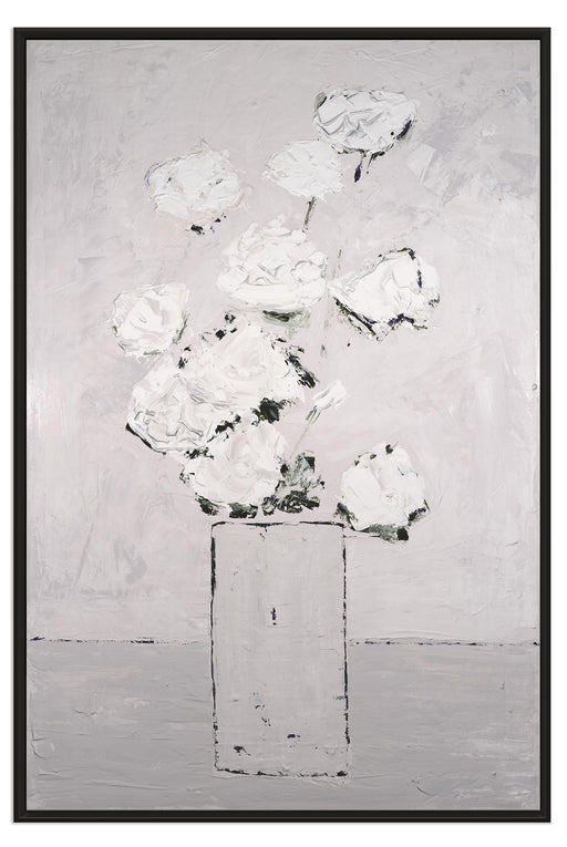 Framed Abstract White Flower Textured Art Print White on Gray by Claire Sower