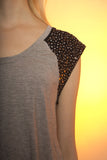 Grey Studded Shoulder Top