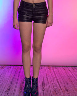 Two Toned Faux Leather Mini Shorts