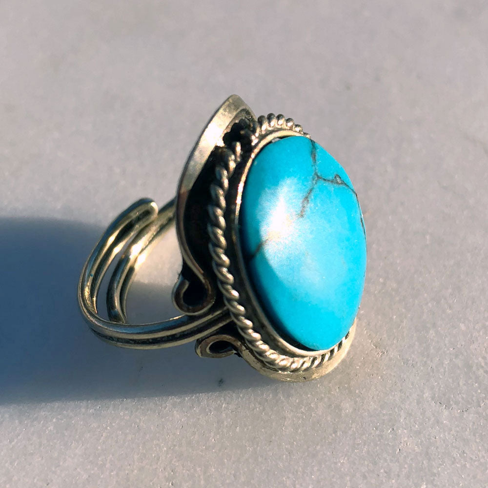 Sky Blue Turquoise Stone Ring – Be Hope Collective
