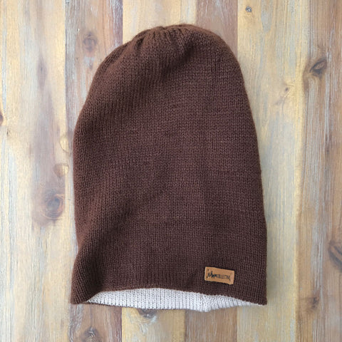 Reversible Knit Hat - Brown/Beige