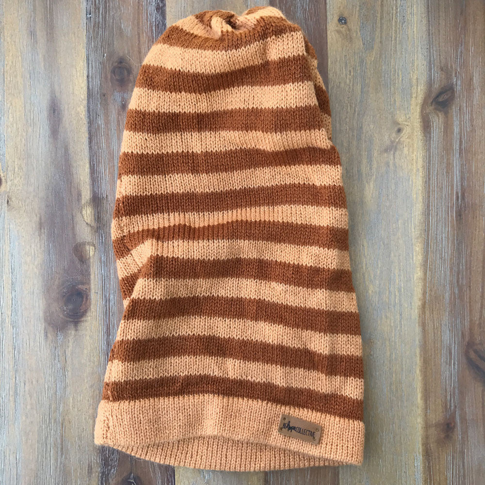 Knit Hat - Brown Striped
