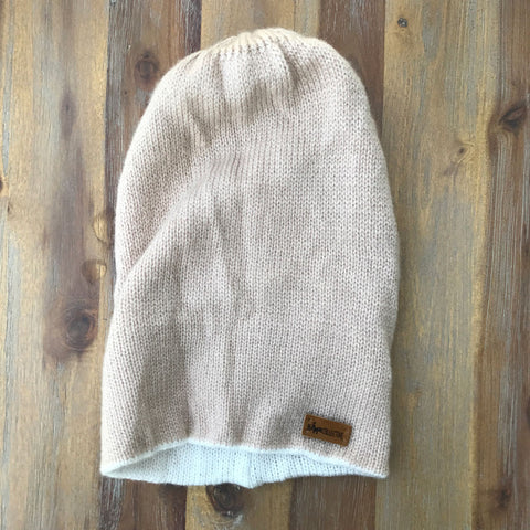 Reversible Knit Hat - Beige/White