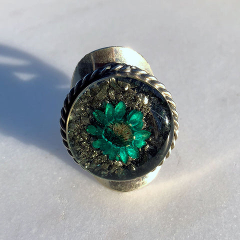 Flower Green Ring