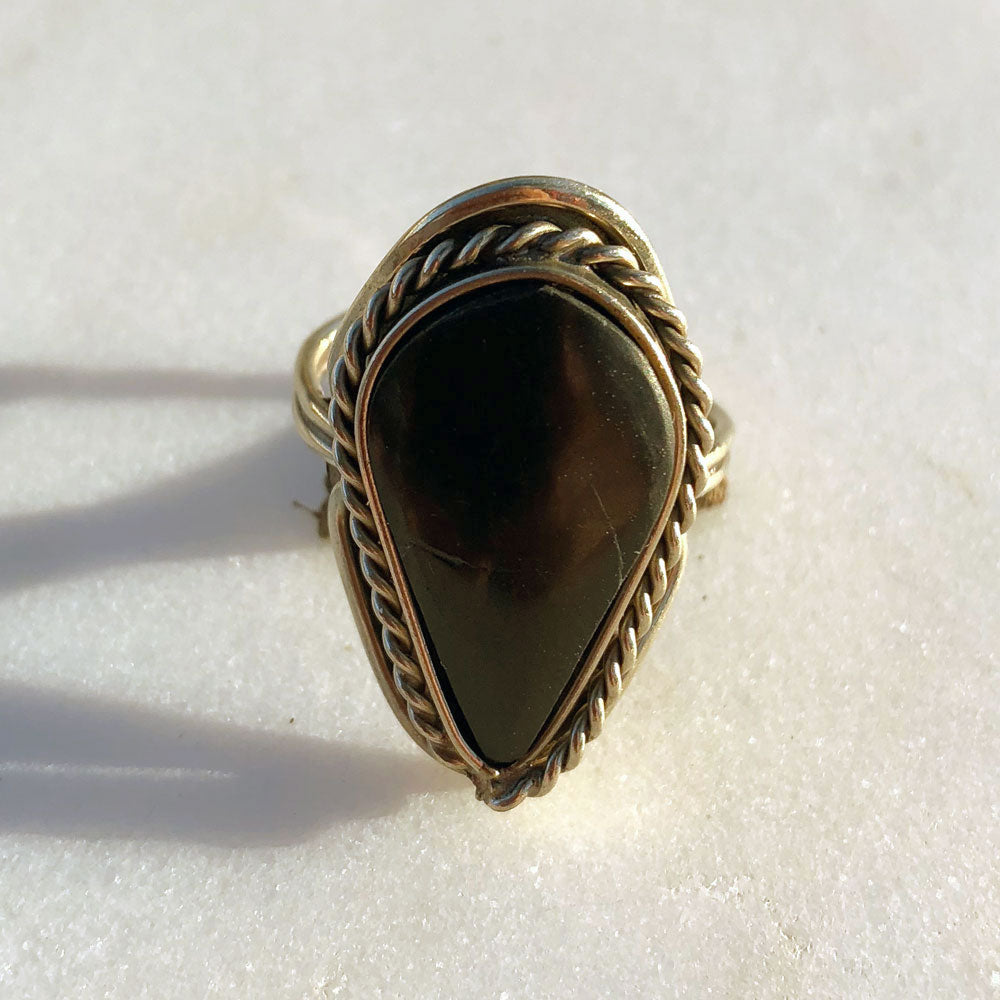 Green Teardrop Ring