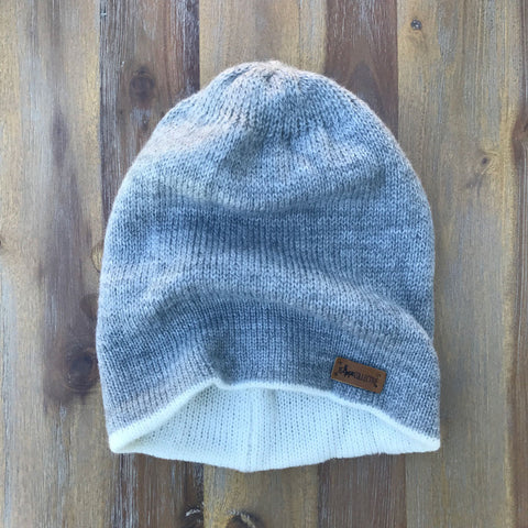 Reversible Knit Hat - Grey/White
