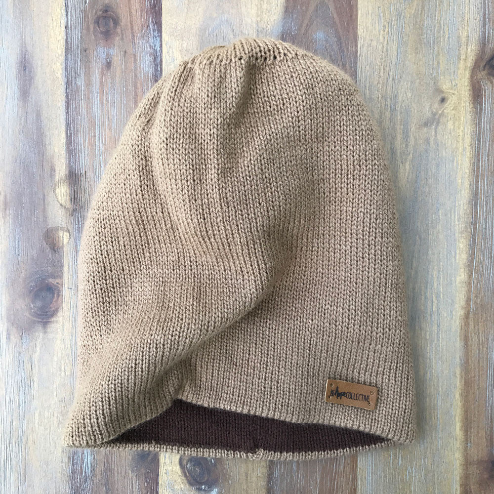 Reversible Knit Hat - Light Brown/Brown