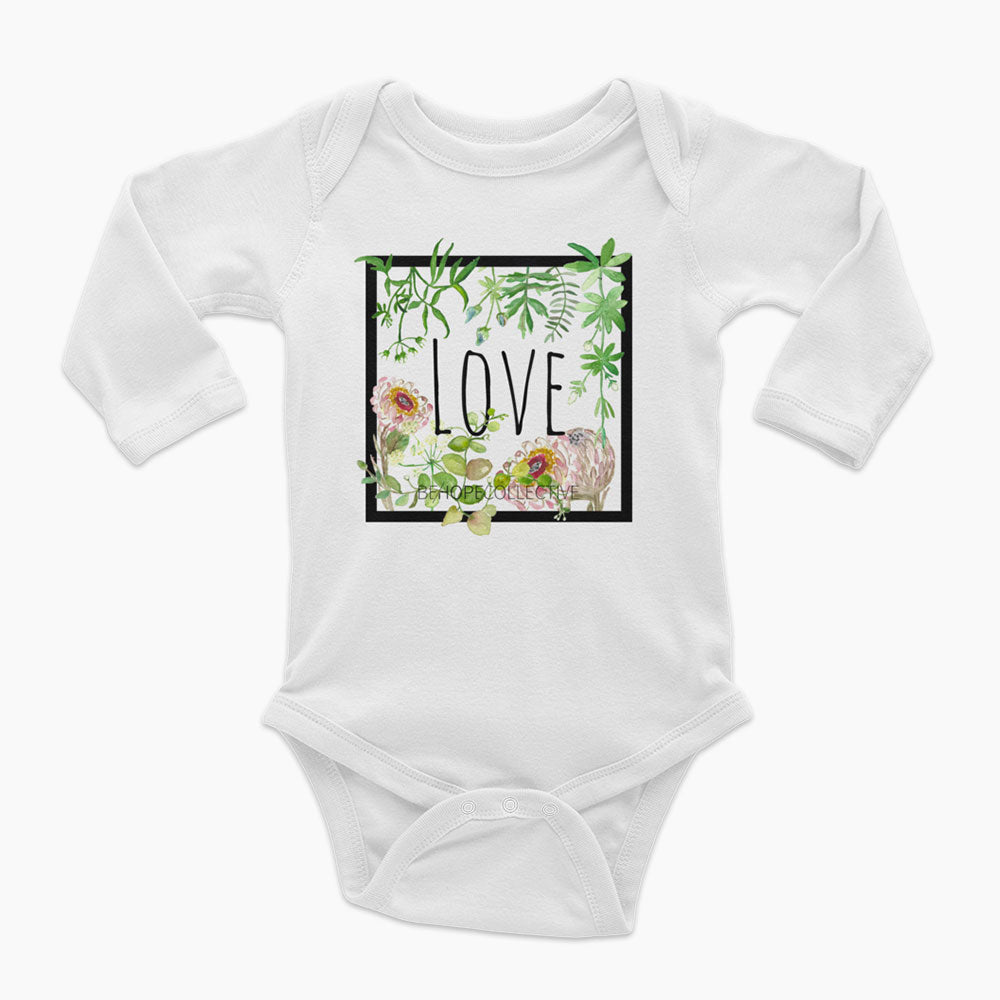 Love (Flowers) Long Sleeve Onesie