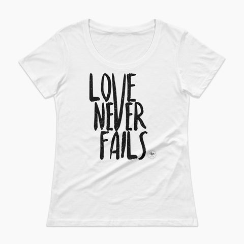 Love Never Fails Ladies' Scoopneck T-Shirt
