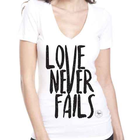 Love Never Fails Women's V-Neck T-shirt