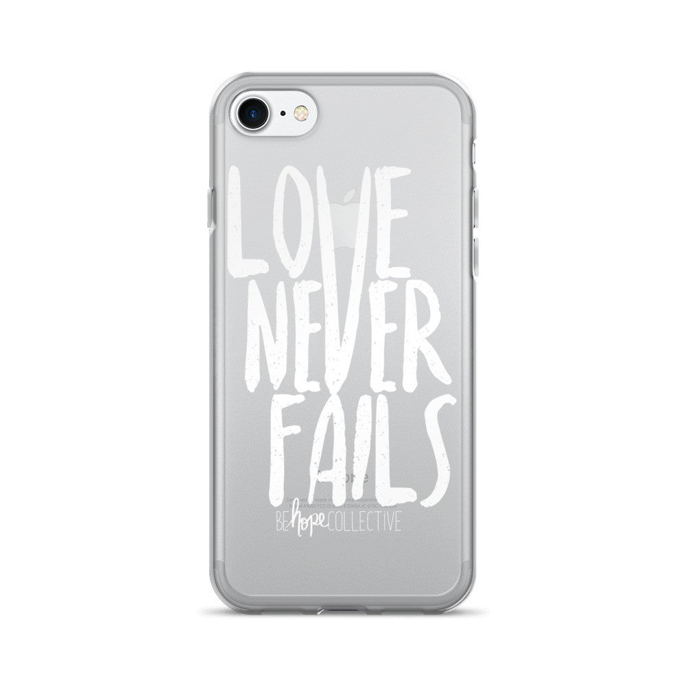 Love Never Fails (White Print) iPhone 7/8 Case