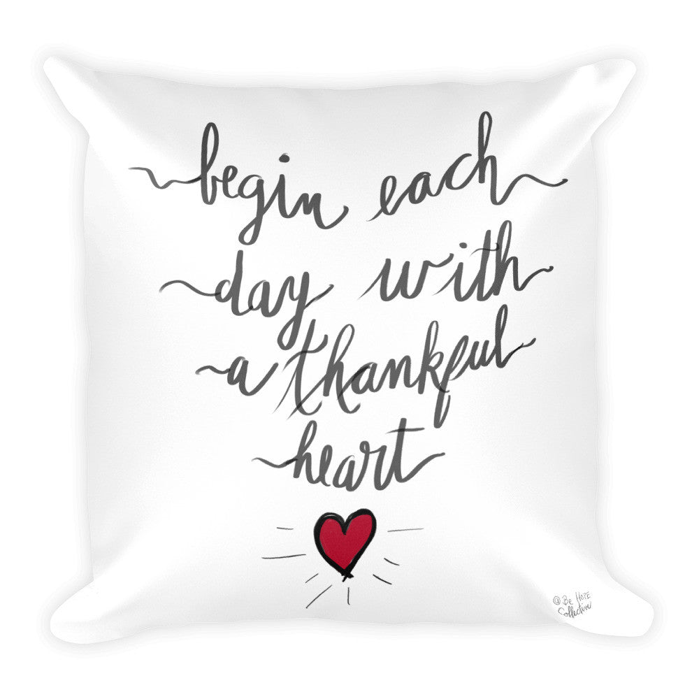 Thankful Heart Square Pillow