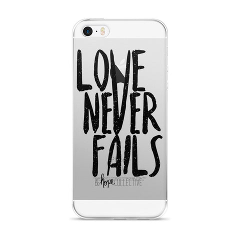 Love Never Fails (Black Print) iPhone 5/6 Case