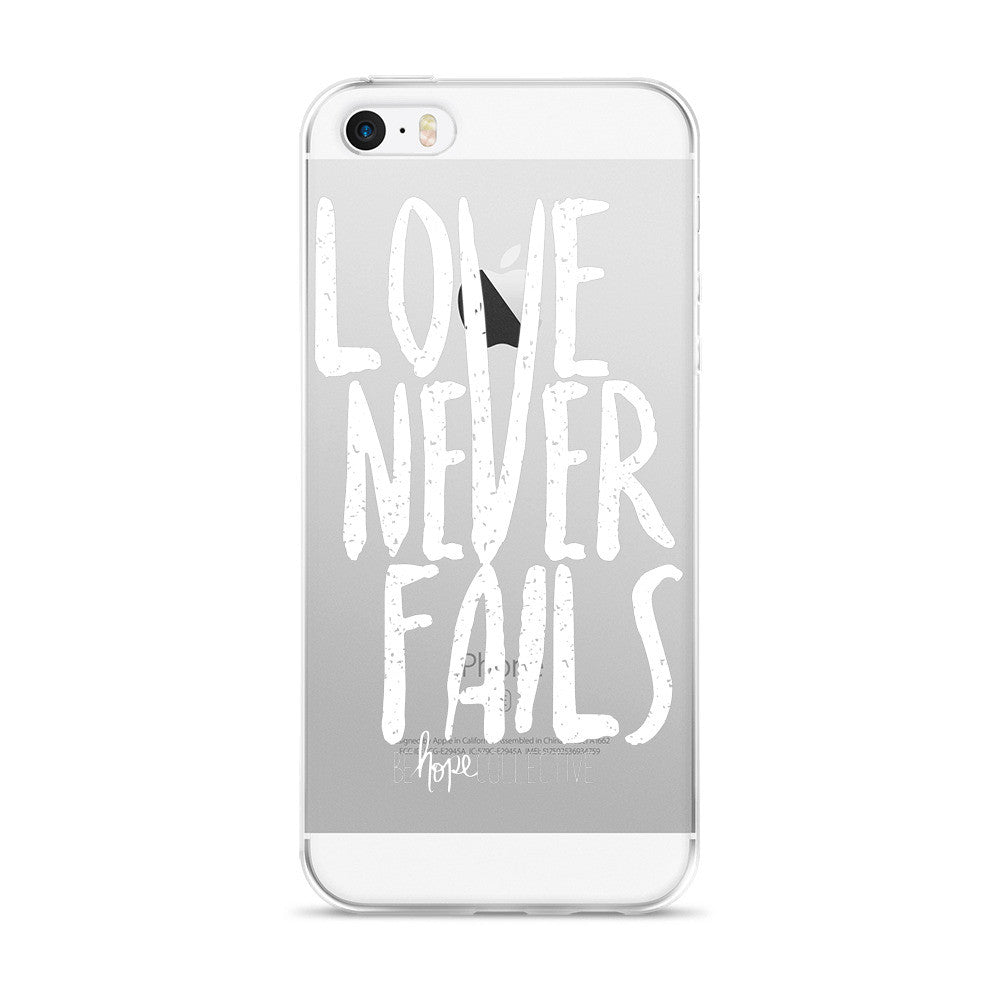 Love Never Fails (White Print) iPhone 5/6 Case