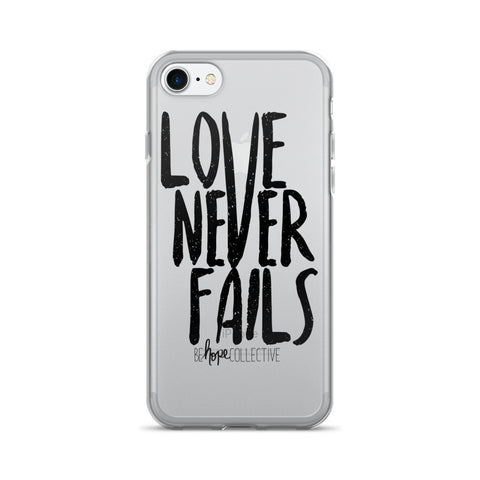 Love Never Fails (Black Print) iPhone 7/8 Case