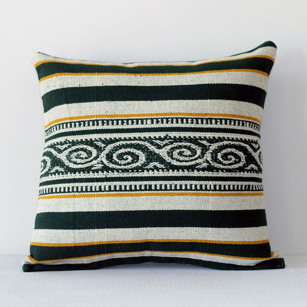 El Dorado Pillow - Green/White