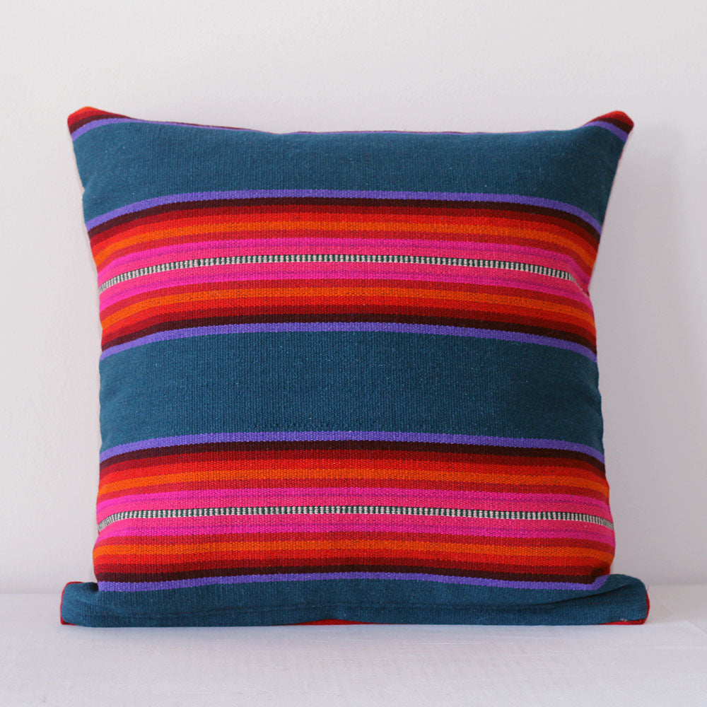 Brisa Pillow - Teal/Deep Burgundy