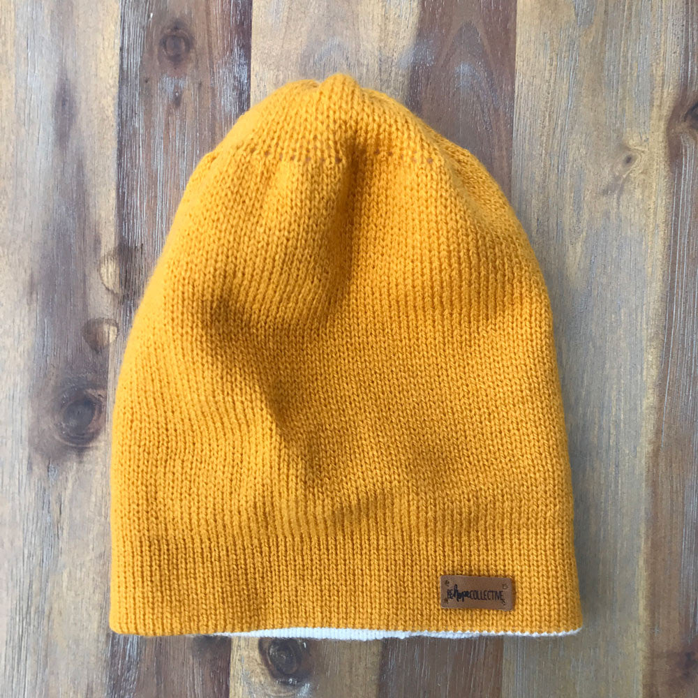 Reversible Knit Hat - Yellow/White