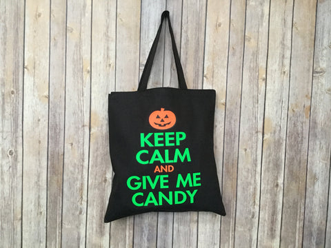 Halloween Canvas Tote Bag/Shopper Keep Calm And Give Me Candy