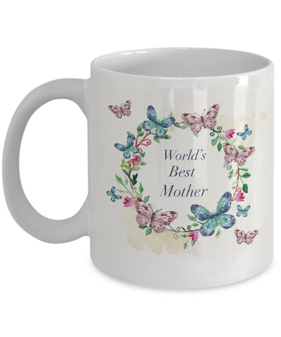 World's Best Mother 11 oz. Mug With Decorative Butterfly Border