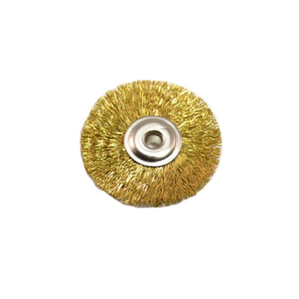 "Unmounted 3/32"" Arbor Hole Brass Wire Brushes - 1"" Diameter"