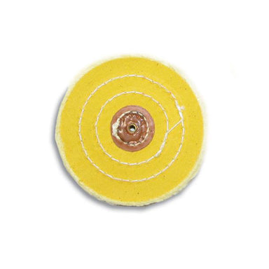"4"" Diameter Chemkote Yellow Buffs with Leather Center (633021988898)"