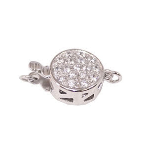 Flat Round Clasp with Cubic Zirconia